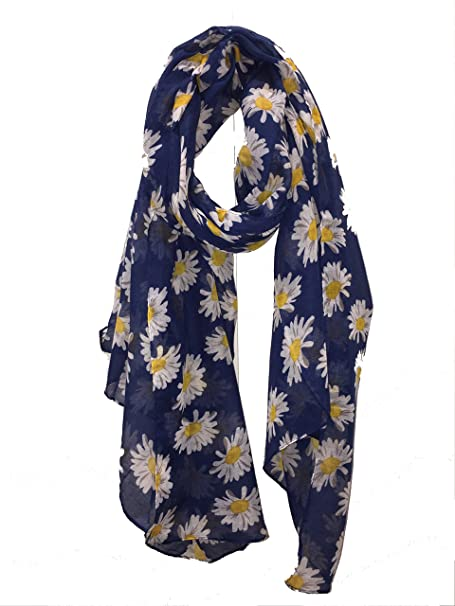 NEW Floral Flower Daisy Print Fashion Scarf Wrap Chiffon Stole Soft Large UK