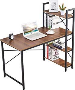 IBAMA Computer Desk with 4 Tier Shelves, Work Study Gaming and Writing Table with Storage Bookshelves Modern Wood and Steel Frame Compact Home Studio Workstation