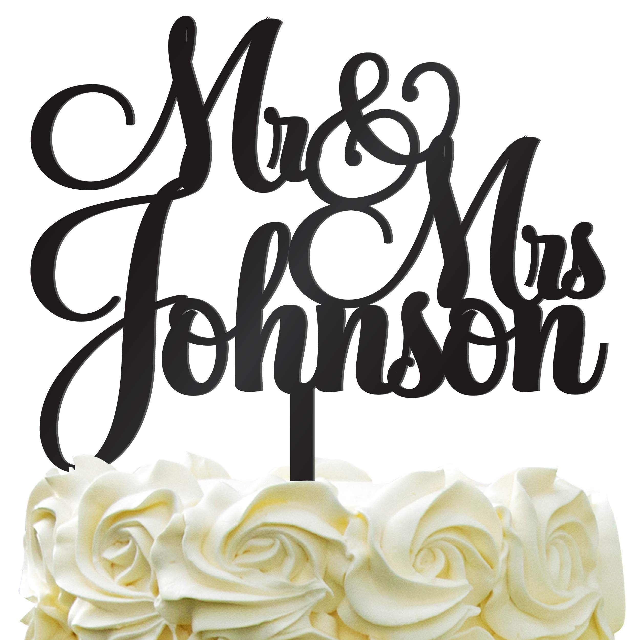 Personalized Wedding Cake Topper - Wedding Cake Decoration Customized Mr & Mrs Last Name To Be Bride & Groom script fontColor Acrylic by PersonalizedGiftLAnd (Image #1)