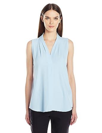 52fb1bd680 Calvin Klein Women s Sleeveless Inverted Pleat Blouse at Amazon ...