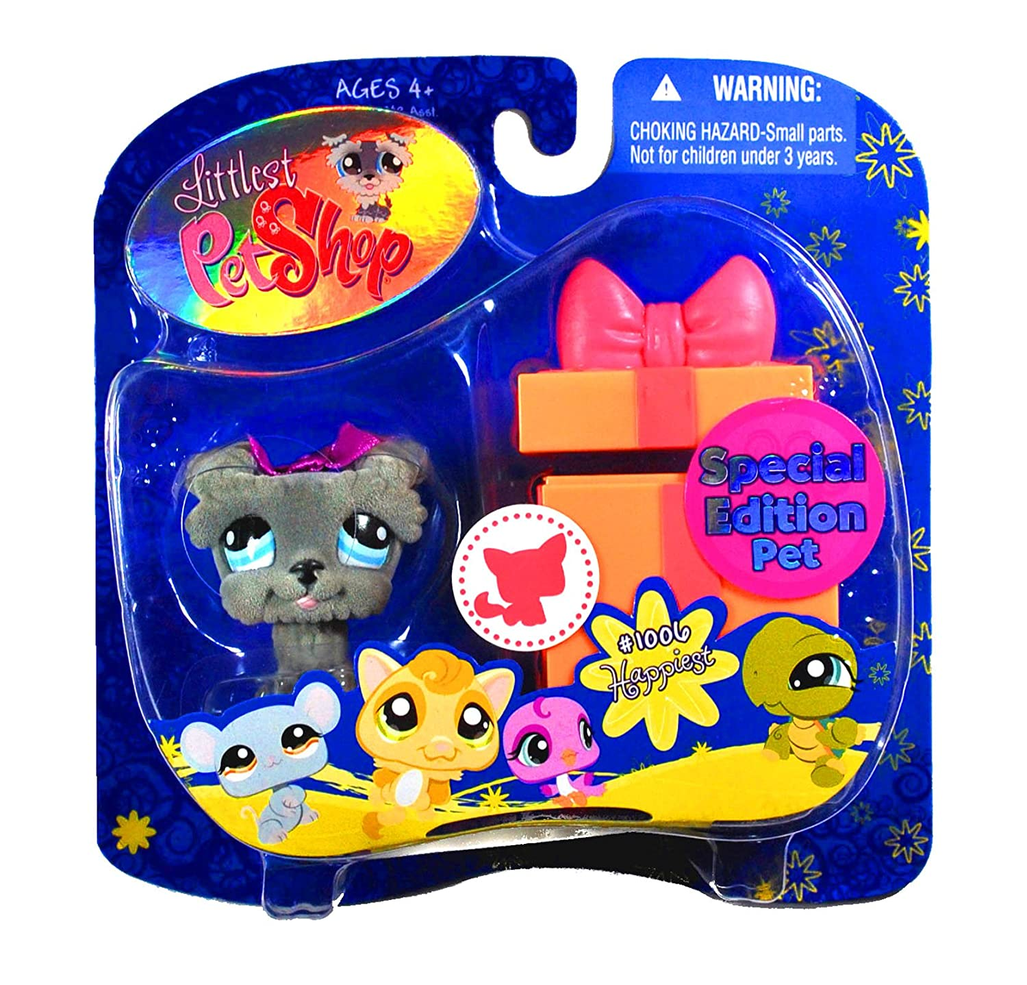 Gray Schnauzer Puppy Dog with Gift Box - Happiest - Littlest Pet Shop Pet & Accessory Hasbro 1006 HAPPIEST