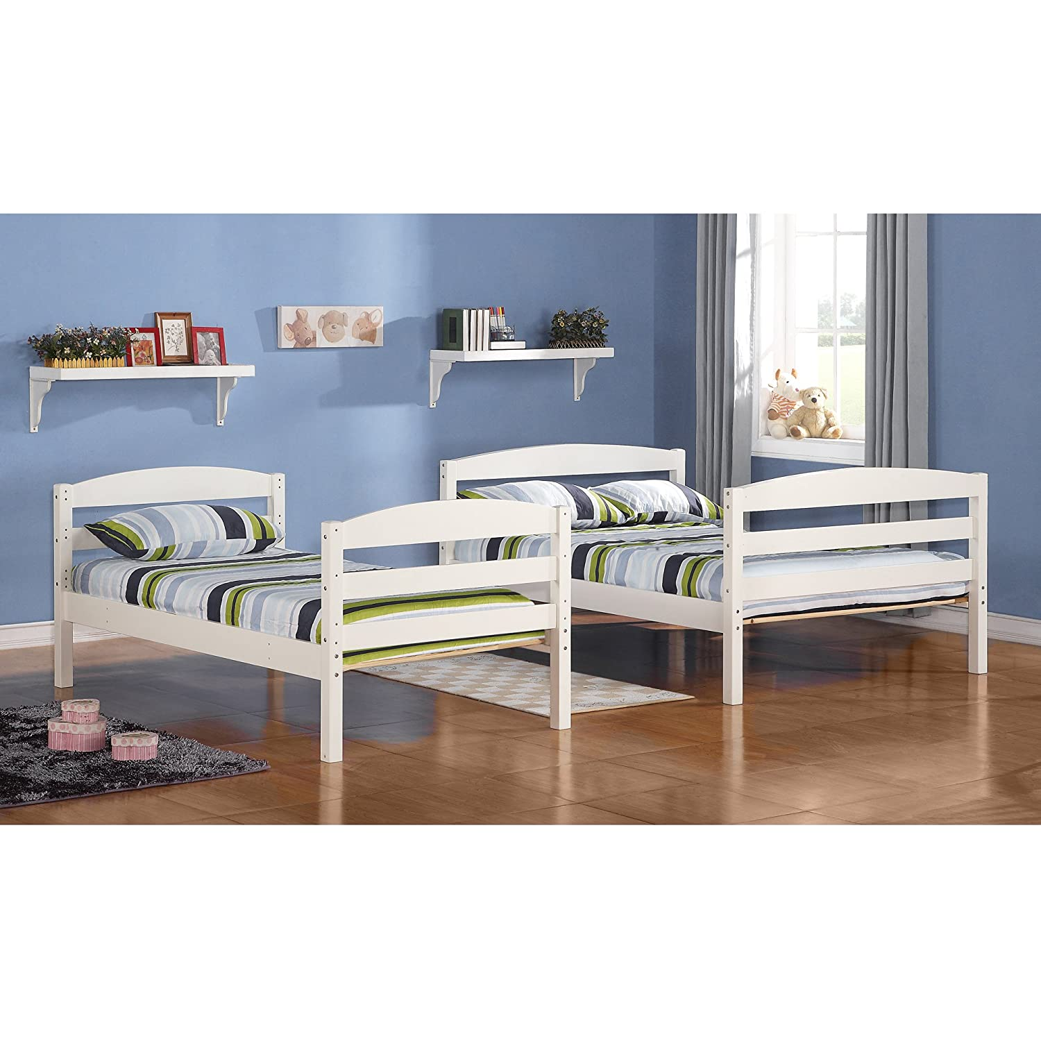 Amazon Walker Edison Twin Double Solid Wood Bunk Bed White