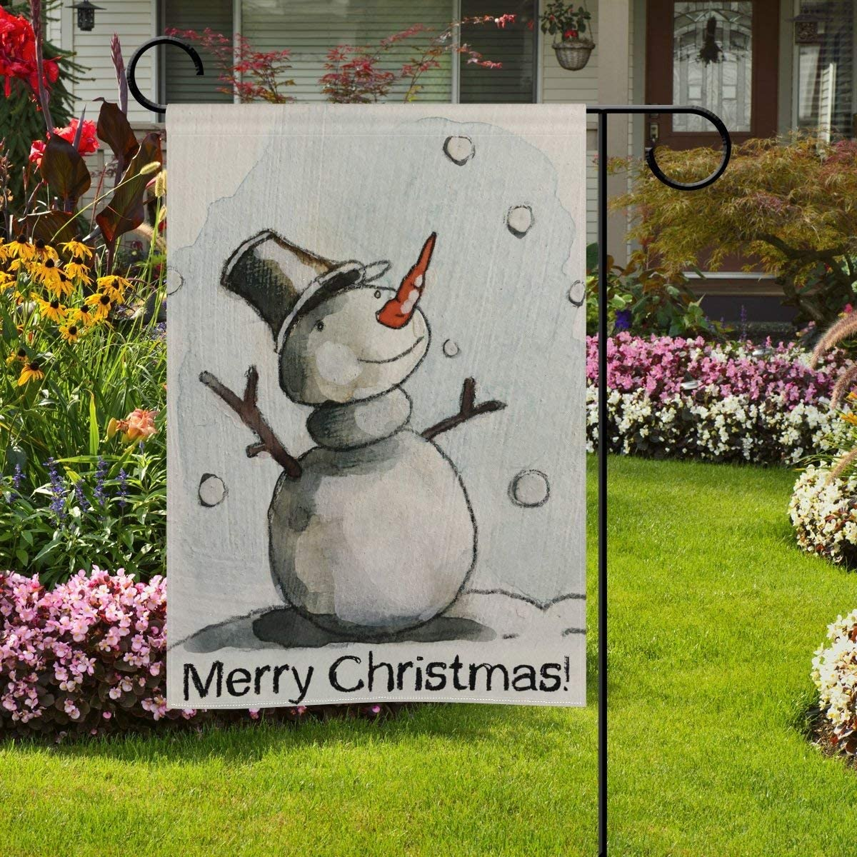 YATELI Acuarela de Doble Cara Feliz Navidad Muñeco de Nieve bajo la Nieve Que Cae Poliéster Casa Jardín Bandera Bandera 28x40 Pulgadas para Aniversario Decoración de jardín Familiar: Amazon.es: Jardín