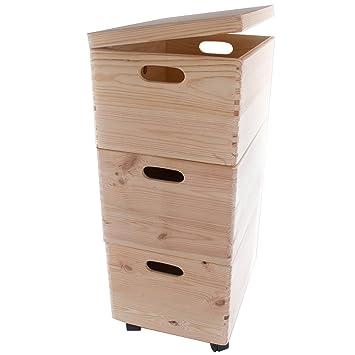 Search Box Juego de Tres Grandes apilables Cajas con Ruedas en el Pecho de Almacenamiento de Madera/Juguetes/baúl: Amazon.es: Hogar