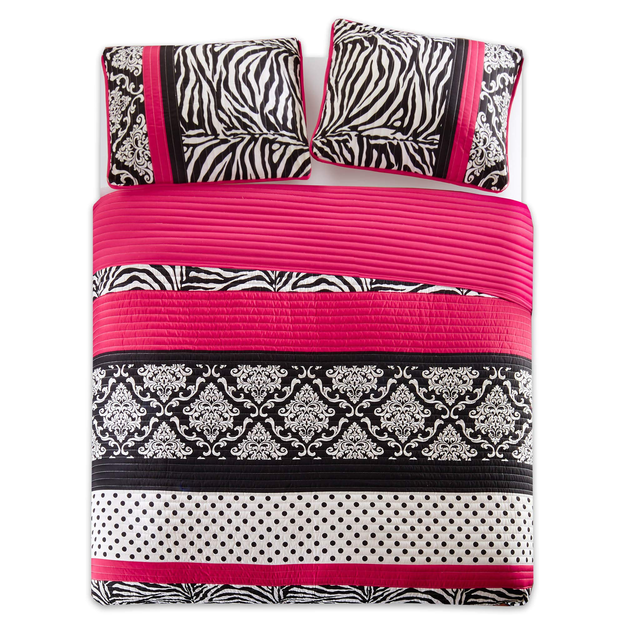 Quilt Set Twin/Twin XL Bedding Set - Sally - Teen Girl 2 Pieces [ Hot Pink and Black Bedding ] Zebra, Damask, Polka Dot Print - Hypoallergenic Soft Microfiber All Season Twin Coverlet