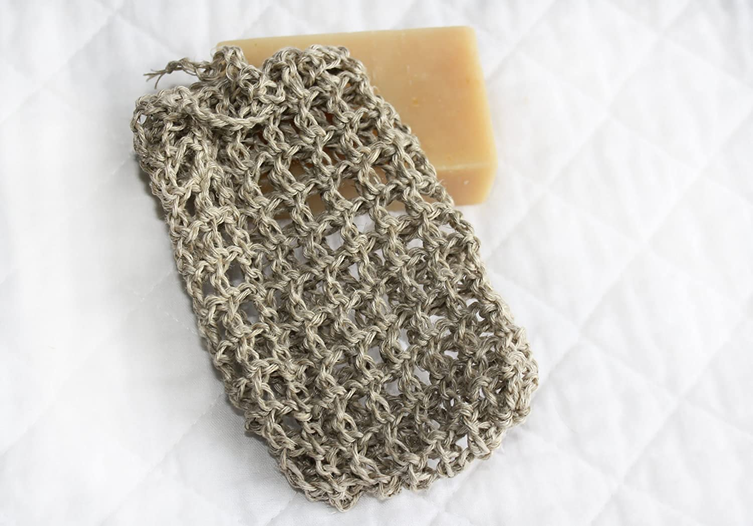 Crocheted Natural Hemp Soap Bag, Soap Saver