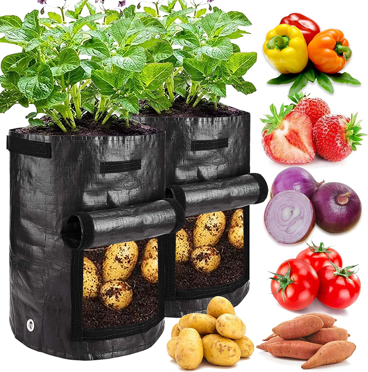 2 Pack Plant Grow Bags, K-MAN 10 Gallon Potato Grow Bags, Thickened PE Planter Bags with Flap & Handles Vegetable Plant Bags Garden Containers Smart Growth Bag for Flower Potatoes(Black)