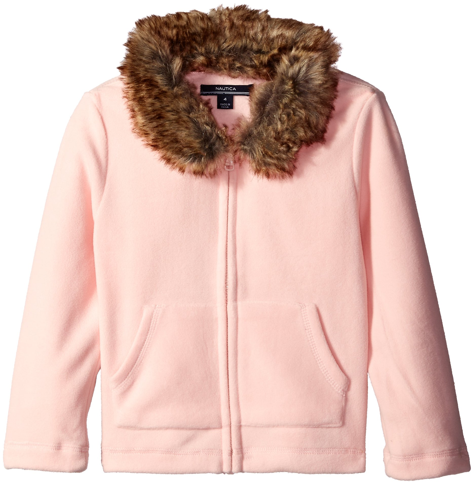 Nautica Big Girls Fleece Jacket with Removable Faux Fur Collar, Pale Pink, 7