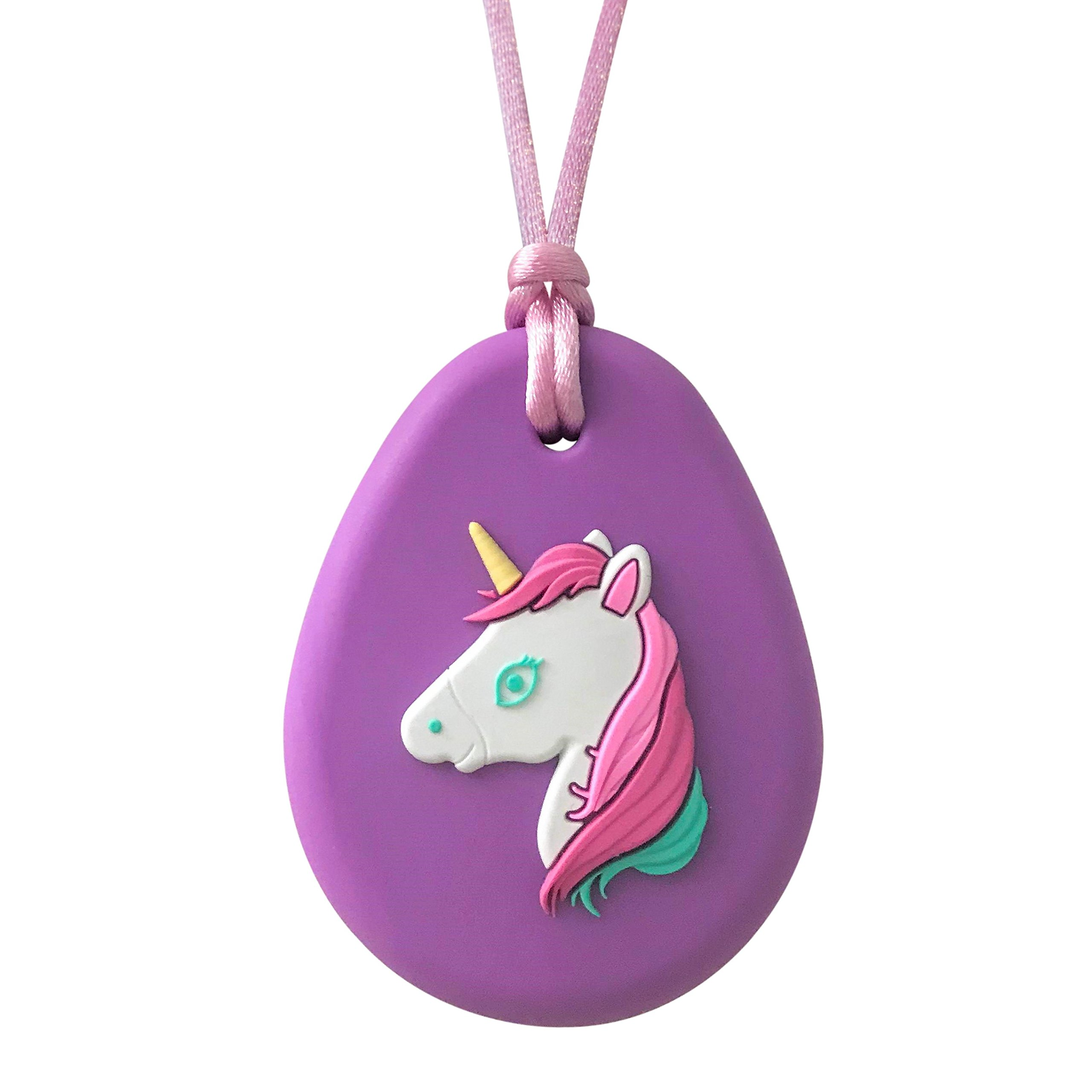 Sensory Oral Motor Aide Chewelry Necklace - Chewy Fidget Toy – Unicorn (Purple)