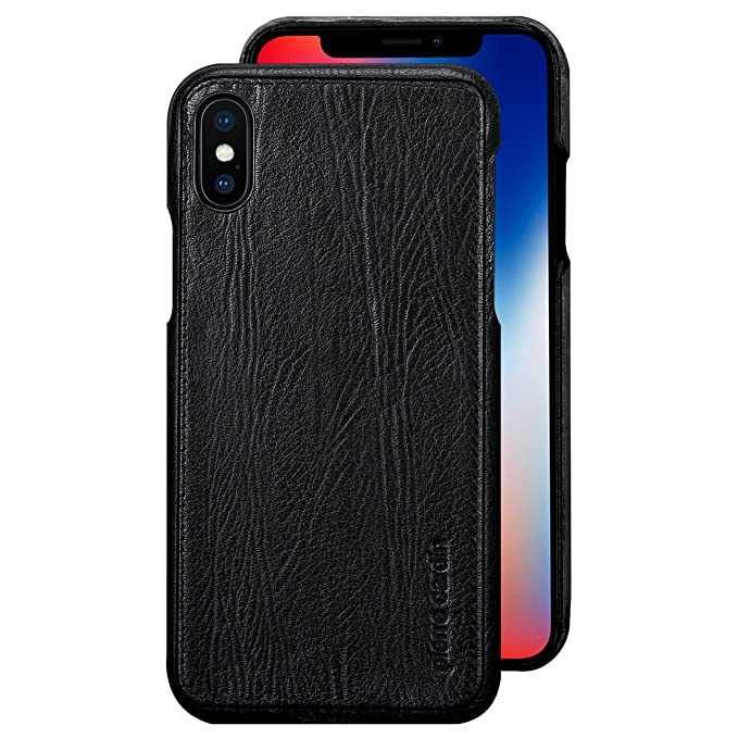 info for c6ee1 761b5 iPhone X Case , Pierre Cardin Premium Genuine Cow Leather with New Slim  Design Hard Case Cover Fit for Apple iPhone X (Black)