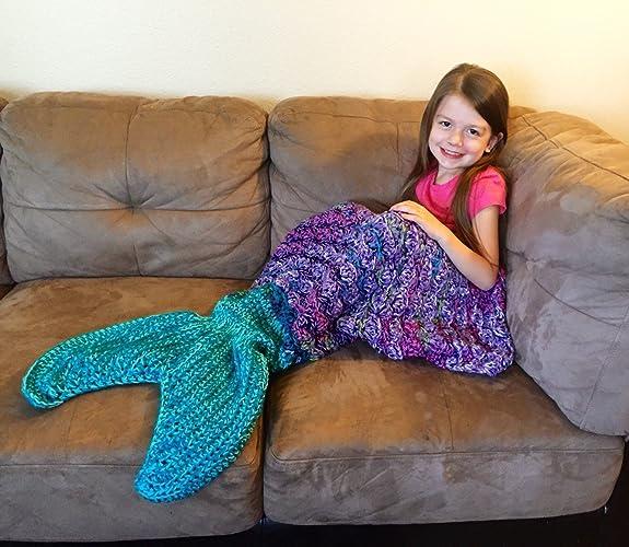 Amazoncom Mermaid Tail Blanket Mermaid Tail Afghan Mermaid