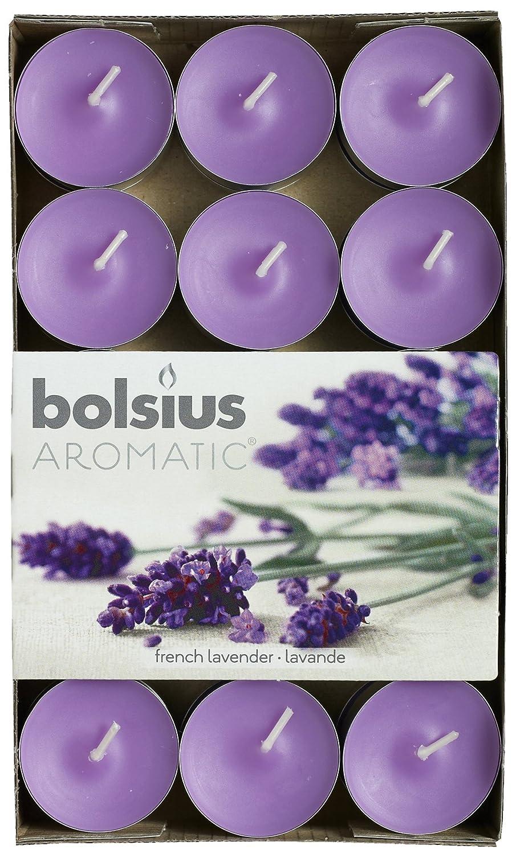 Lumignon aromatique «Lavande française» parfumé, bougie chauffe-plat, cire de paraffine, violet, Lot de 30 Bolsius 103626944477