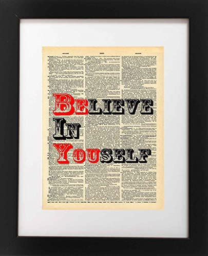 Amazon.com: Believe in Yourself Quote Dictionary Art Print - Vintage ...