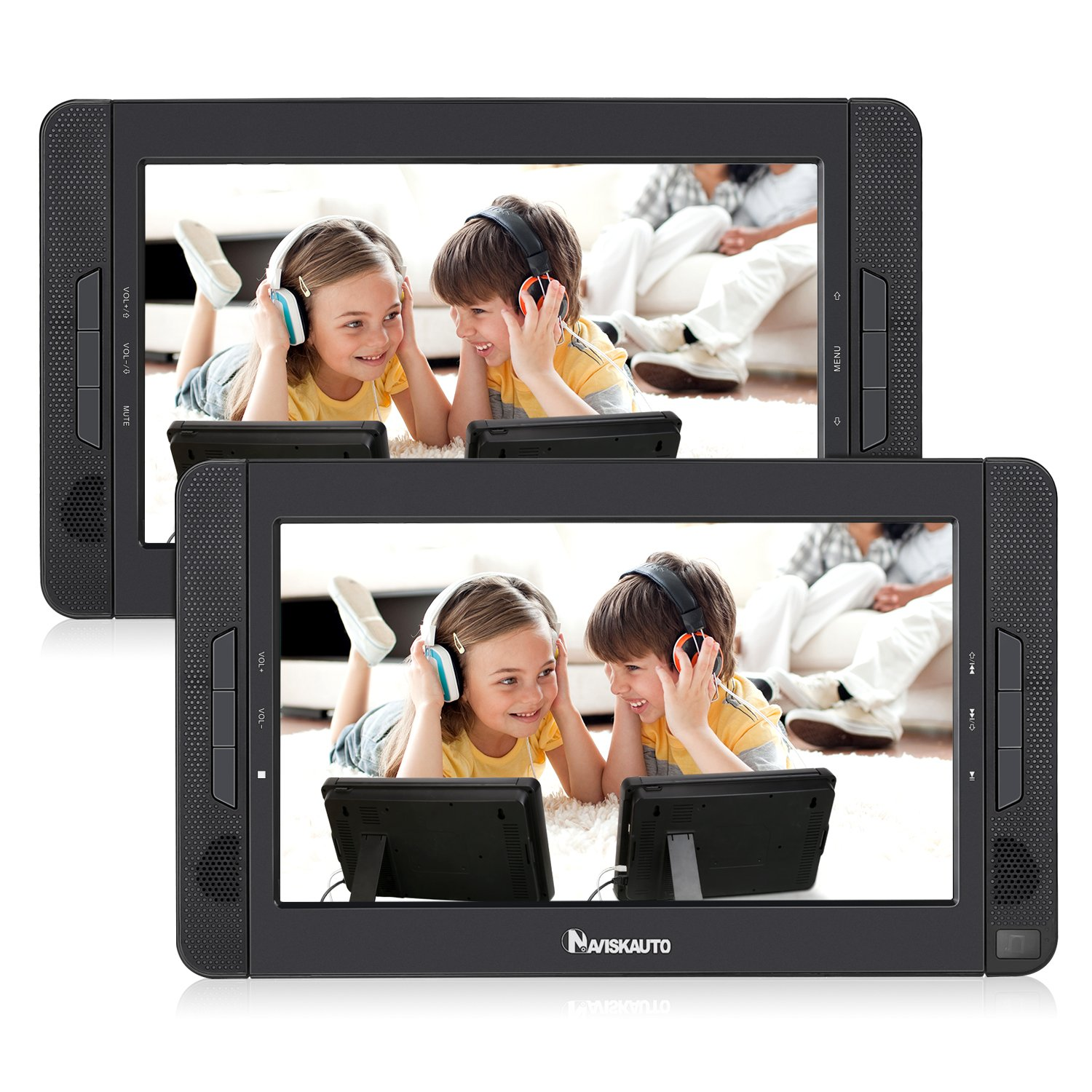 NAVISKAUTO Portable DVD Player for Car with 10.1'' Dual Screen, 5-Hour Rechargeable Battery and Last Memory Function (Host DVD Player+ Slave Monitor)