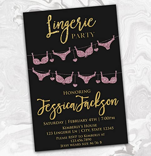 Amazon lingerie party bachelorette invitation bridal shower lingerie party bachelorette invitation bridal shower invite black pink faux gold glitter effect filmwisefo
