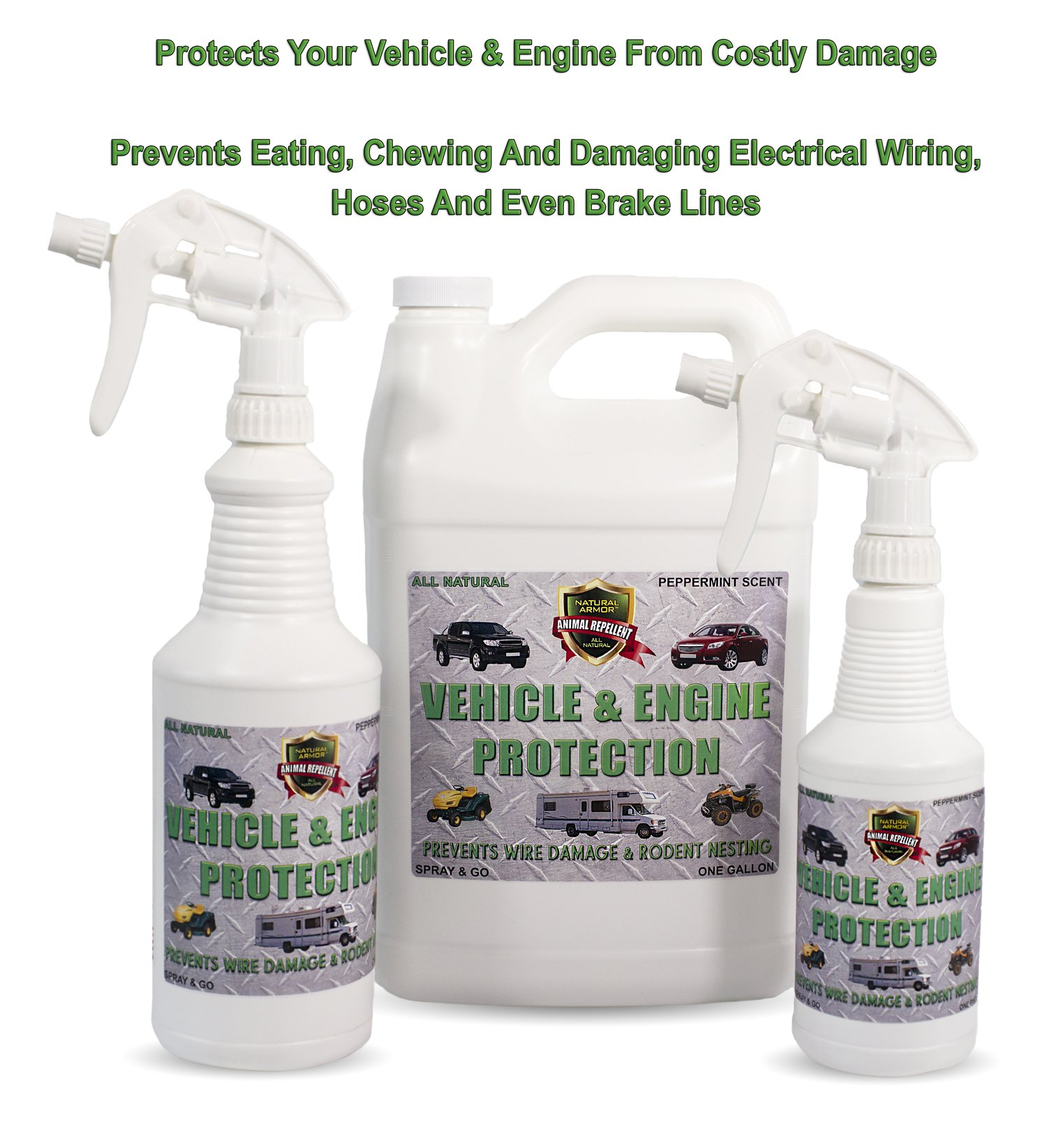 natural armor engine vehicle rodent defense repellent spray for mice mouse squirrels rats. Black Bedroom Furniture Sets. Home Design Ideas