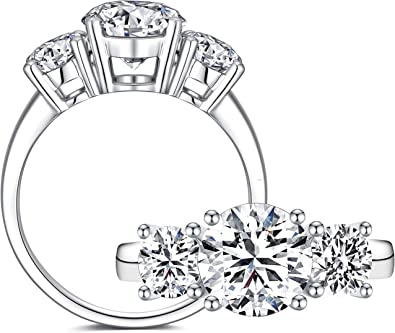 Lux Accessories 2CT Sterling Silver CZ 925 Three Stone Engagement Ring Size 8