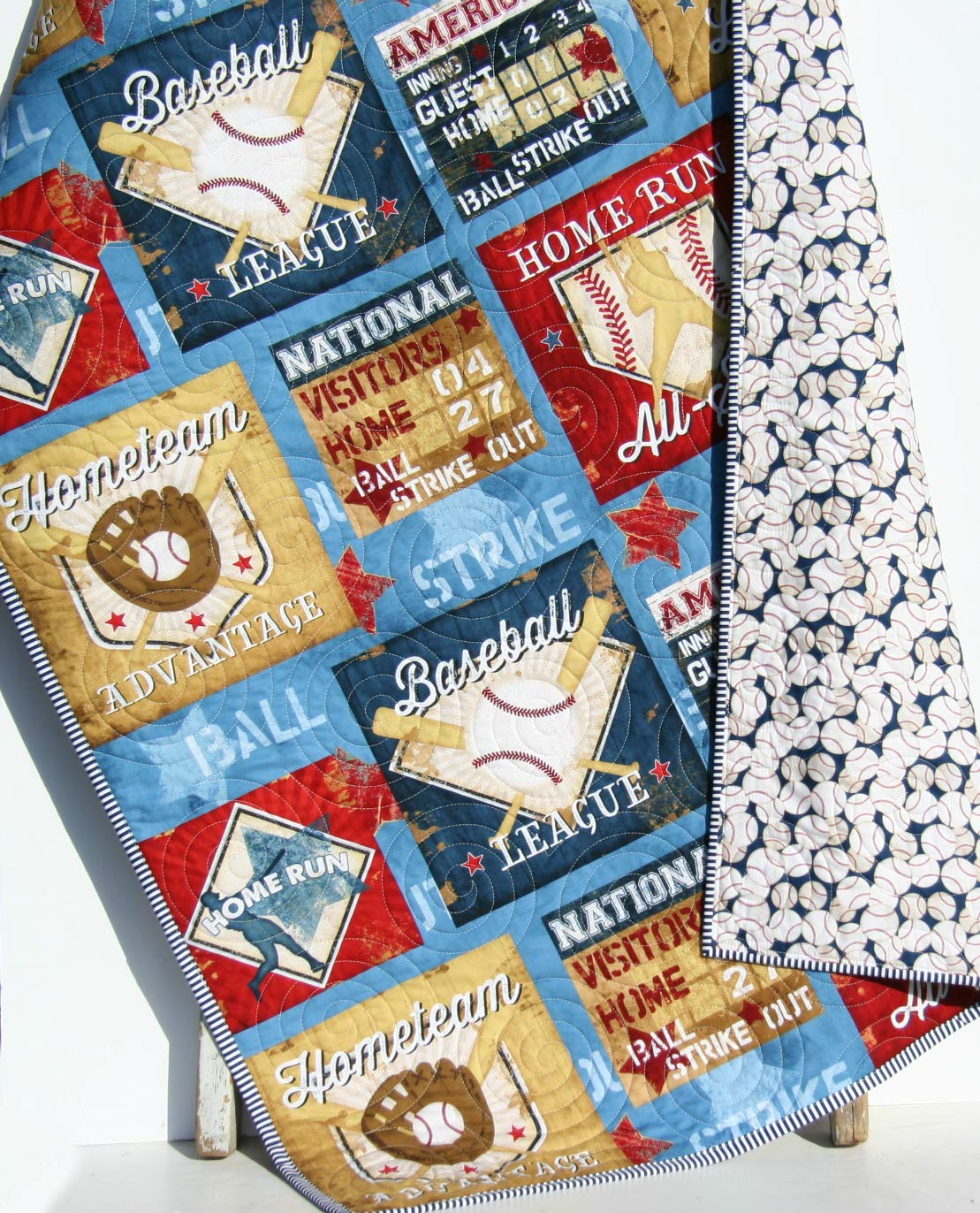 Image of Baseball Quilt, Sports Blanket, Nursery Crib Bedding, Handmade Gift for Baby Toddler Boy, Sale Home Run Blue Home Decor Home and Kitchen