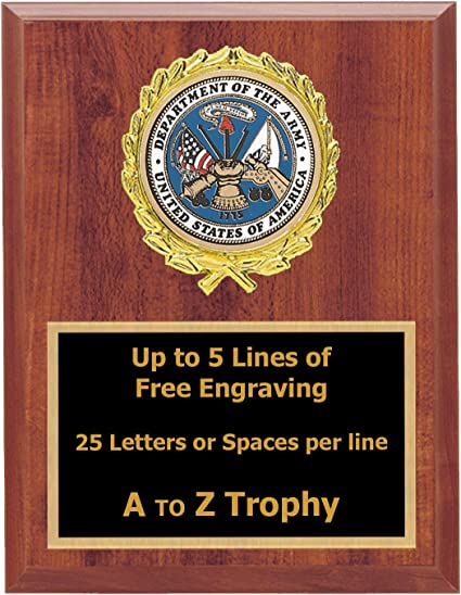 Trophies Army Plaque Awards 6x8 Wood Soldier Military Trophy Free Engraving