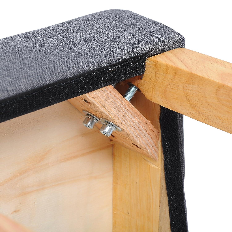 WOLTU Breakfast Counter Chairs Bar Stools Set of 4 Wood Barstools Dark Grey