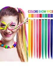 RYH 9PCS Wig Pieces for Girls Colored Clip in On Synthetic Hair Extensions for Girls Party Multiple Color (Rainbow Color)