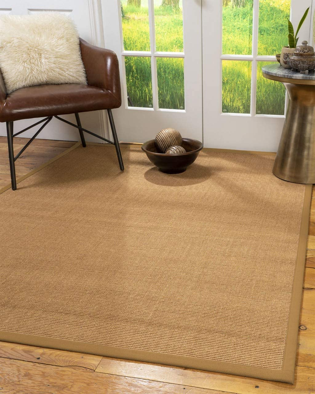 Natural Area Rugs 100 , Natural Fiber Handmade Aston, Sisal Rug, 2 x 3 Khaki Border
