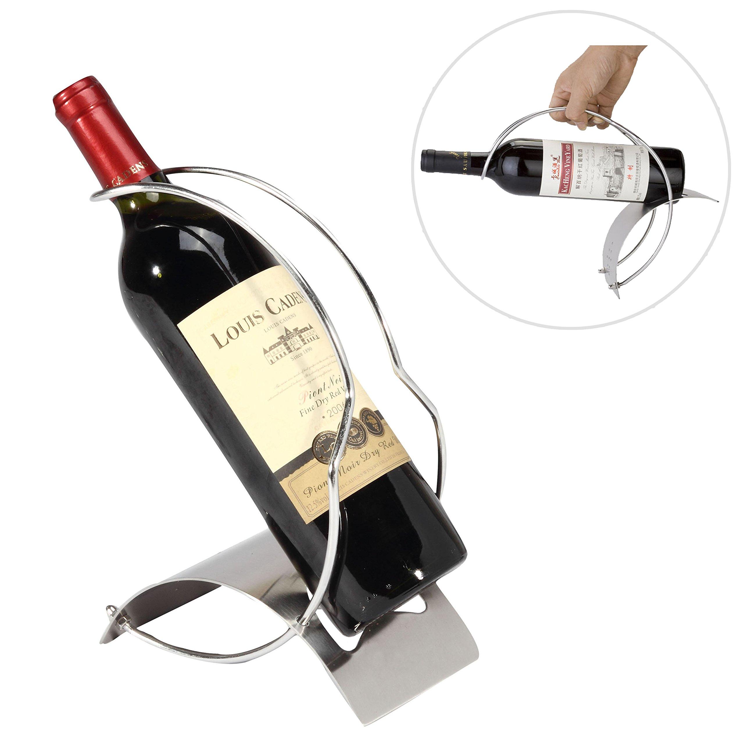 Elegant Sleek Modern Stainless Steel Wine Bottle Serving Pourer Rack Organizer Display Stand