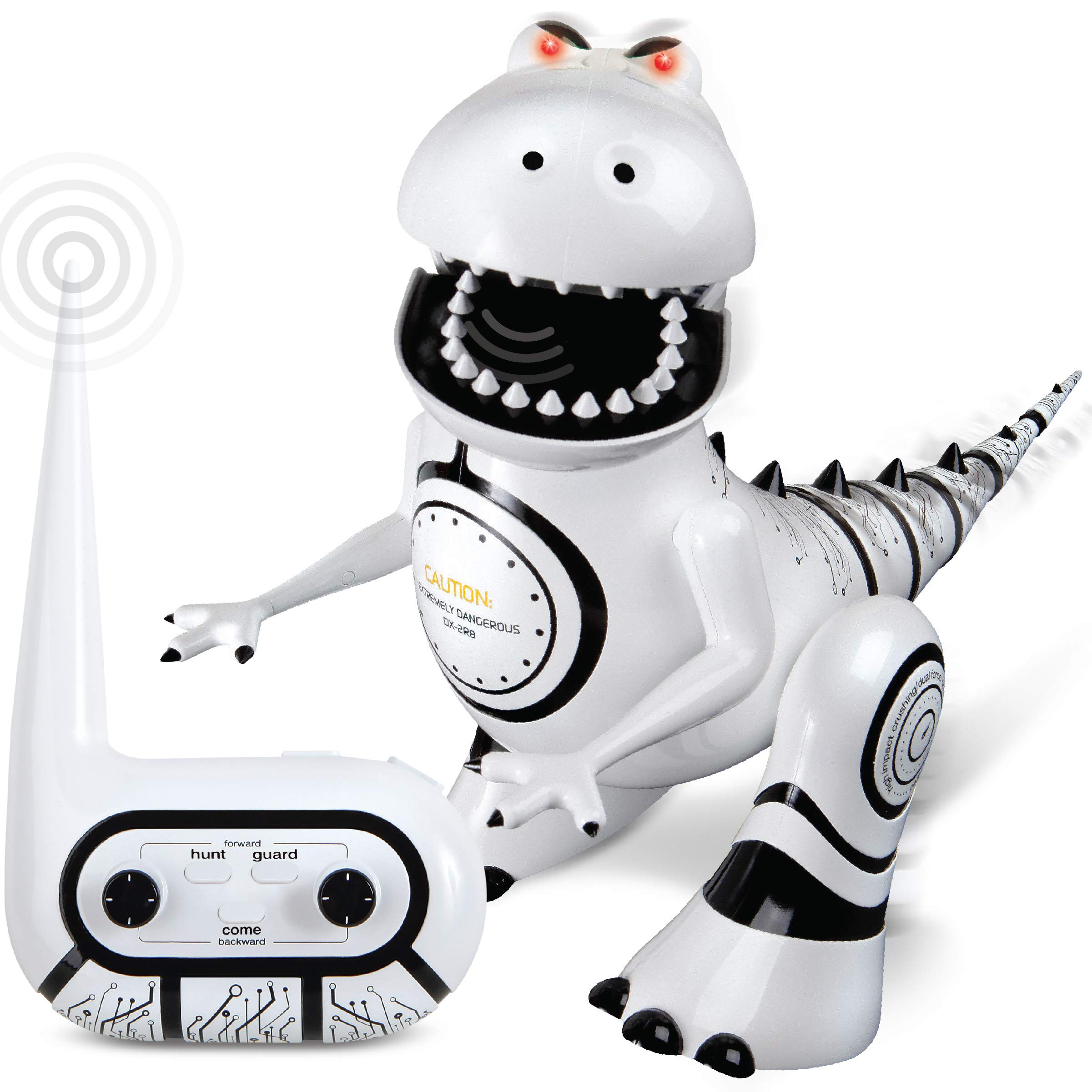 SHARPER IMAGE Interactive RC Robotosaur Dinosaur, Built-in Mood Sensors and Color-Changing LED Eyes, Motion Detection, Growls, Snores, Battery Operated- White/Black