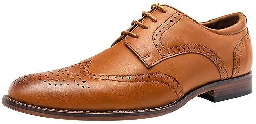 VOSTEY Men's Dress Shoes Classic Wingtip Derby Brogue Men Oxfords (8,Yellow Brown) best men's dress shoes