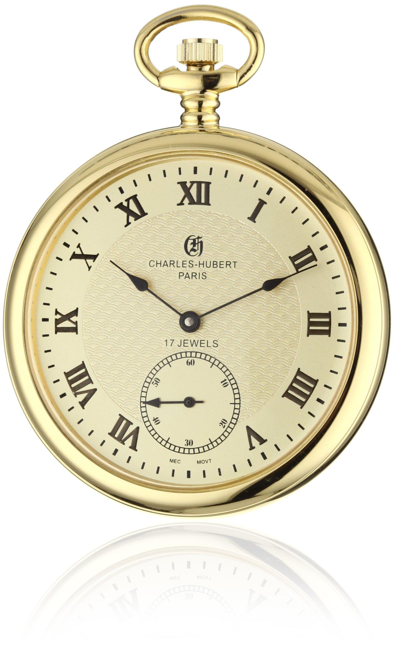 Charles-Hubert, Paris 3912-G Premium Collection Stainless Steel Pocket Watch by Charles-Hubert, Paris