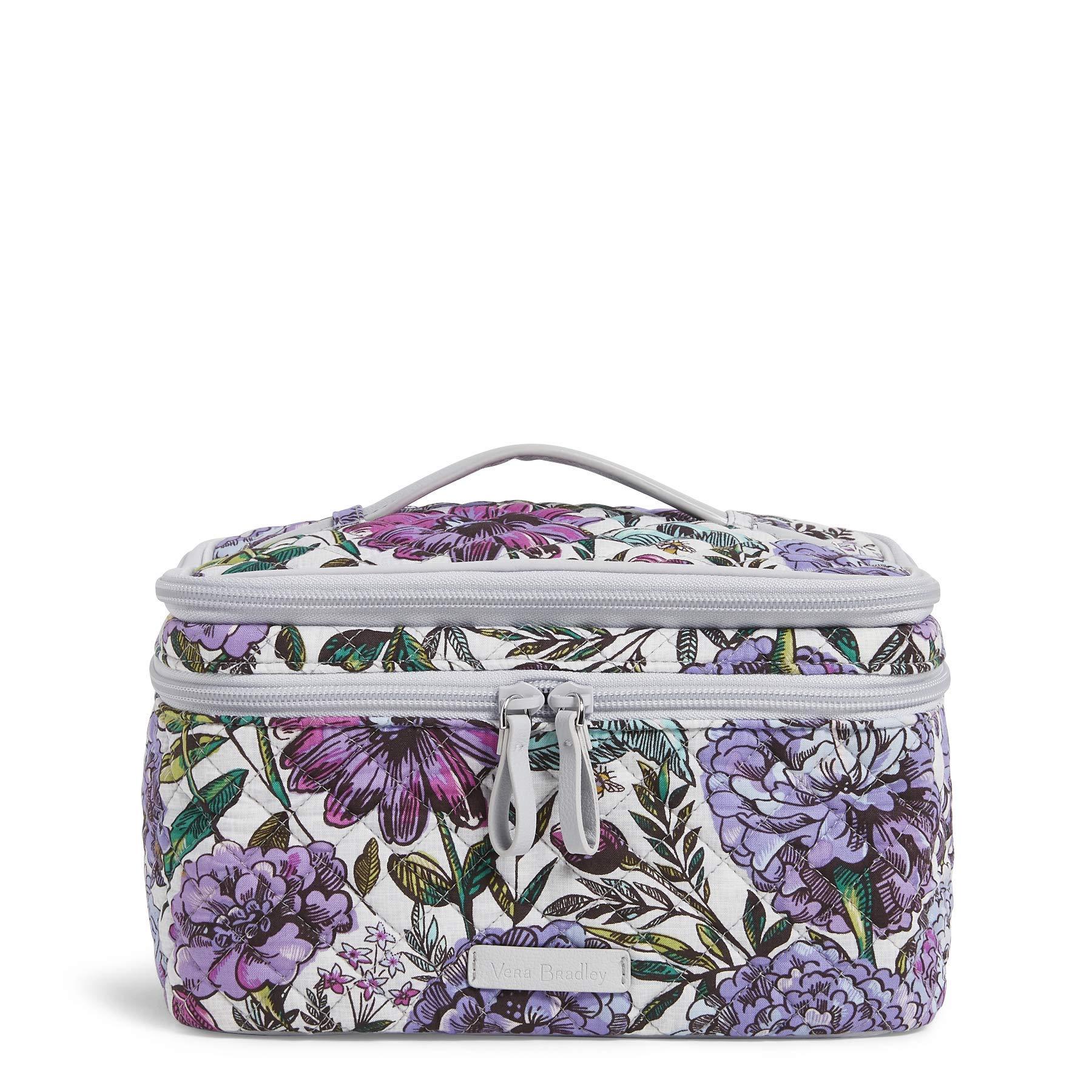 Vera Bradley Iconic Brush Up Cosmetic Case, Signature Cotton, Lavender Meadow