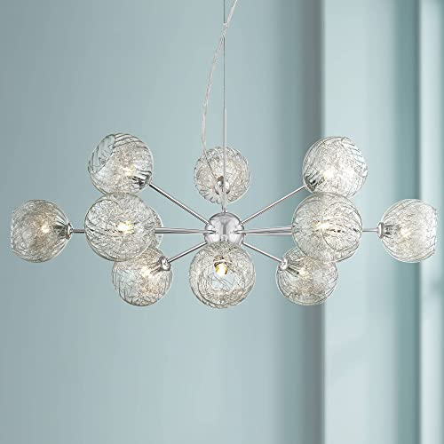 Wired Chrome Aluminum Large Chandelier 32 Wide Modern Sputnik Cup Glass 12-Light Fixture for Dining Room House Foyer Kitchen Island Entryway Bedroom Living Room – Possini Euro Design