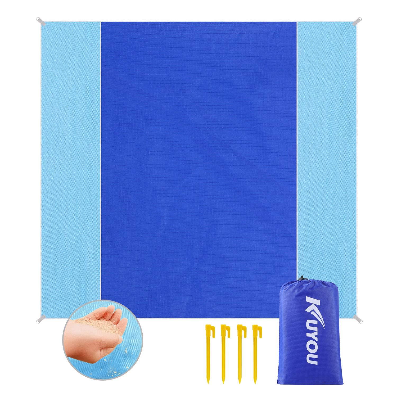 Sandfreie Stranddecke 150 x 180 cm mit Tasche und 4 Befestigung Ecken Picknickdecke Wasserdicht Outdoor Campingdecke Ultraleicht kompakt Wasserdicht und sandabweisend Blau Pocket Blanket