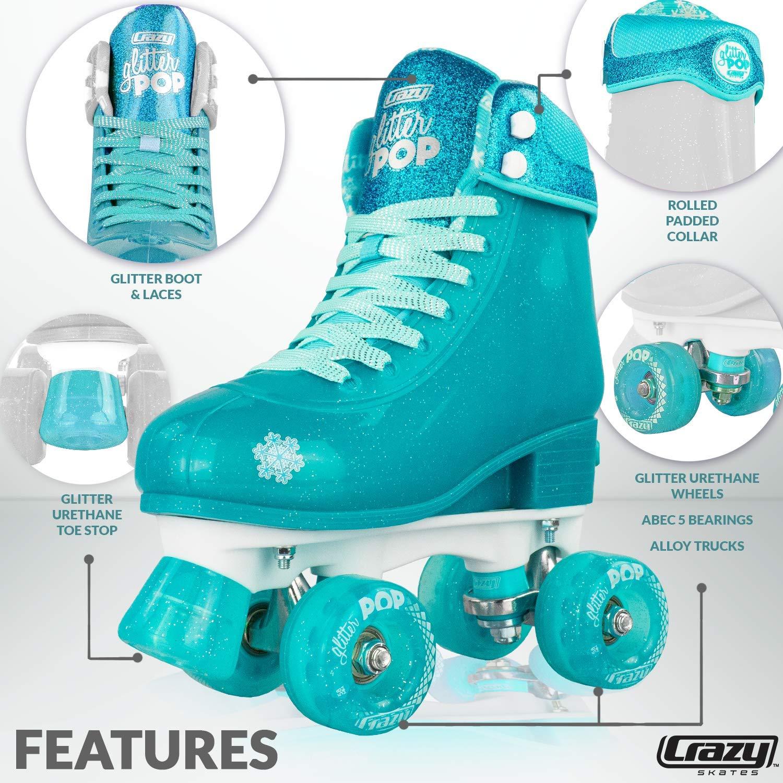 Crazy Skates Glitter POP Adjustable Roller Skates for Girls and Boys   Size Adjustable Quad Skates That Fit 4 Shoe Sizes   Teal (Sizes jr12-2) by Crazy Skates (Image #2)