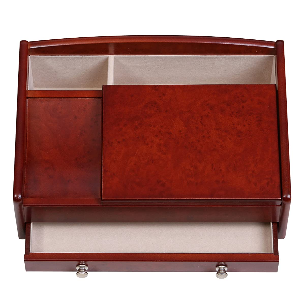 Mele & Co. Davin Mens Wooden Dresser Top Valet in Dark Burlwood Walnut Finish
