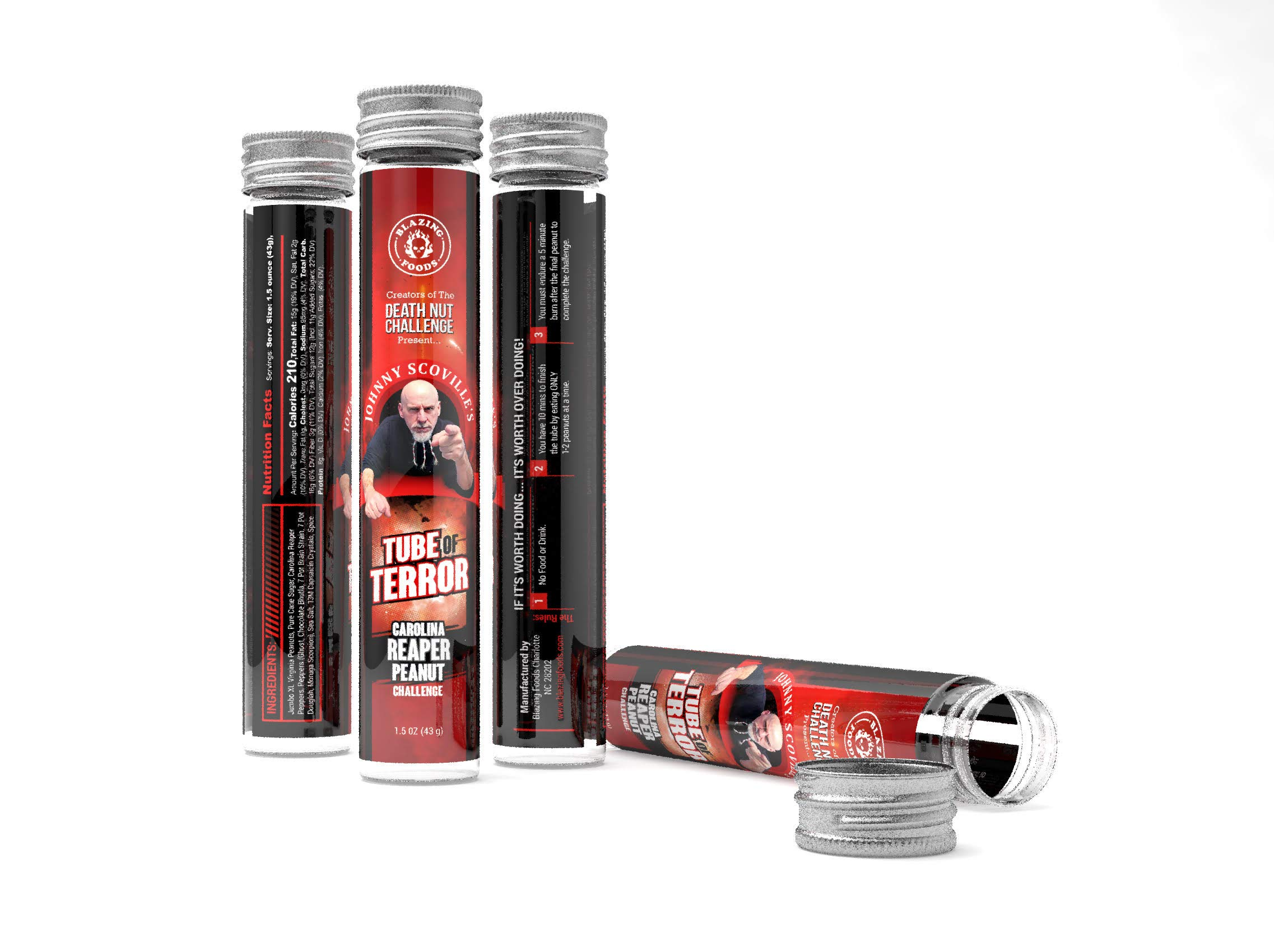Tube of Terror Challenge - verified hottest Carolina Reaper, Ghost & Scorpion Pepper peanuts on planet earth by BLAZING FOODS