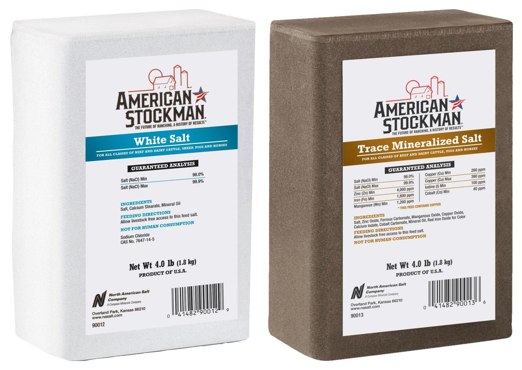 North American Salt American Stockman Trace Mineralized & Salt Brick for Horse Beef Dairy Cattle/Livestock Pig Deer Pet Nutritional Supplement 4 LB Bundle Set (2 items)