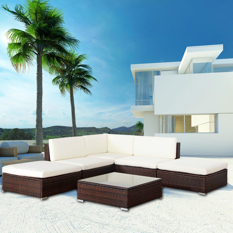 Mali POLY RATTAN Lounge Braun Aluminium Sofa Garnitur Polyrattan ...