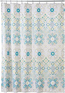 mDesign Decorative Medallion Print, Easy Care Fabric Shower Curtain with Reinforced Buttonholes, for Bathroom Showers, Stalls and Bathtubs, Machine Washable - Teal/Yellow