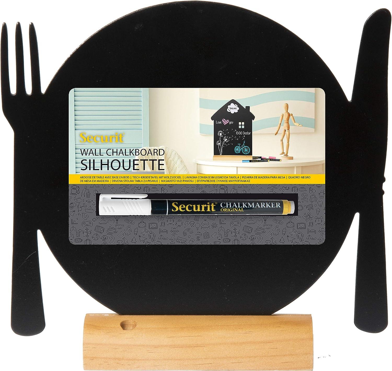 Securit Tableau noir Design silhouette dassiette et couverts Noir//teck