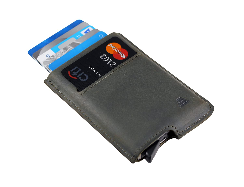 Andar Slim RFID Minimalist Card Case Full Grain Leather Wrapped - The Pilot