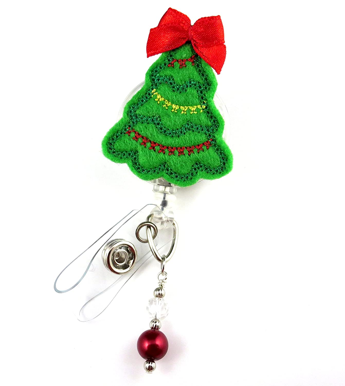 Amazon.com : Christmas Tree - Nurse Badge Reel - Retractable ID ...