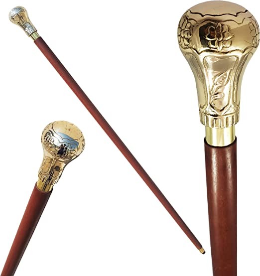 """Details about  /Brass Nautical Engine Handle Antique Finish Brown Wooden Walking Stick Cane 36/"""""""