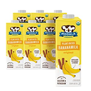 Mooala – Organic Original Bananamilk, 1L (Pack of 6) – Shelf-Stable, Non-Dairy, Nut-Free, Gluten-Free, Plant-Based Beverage with No Added Sugar