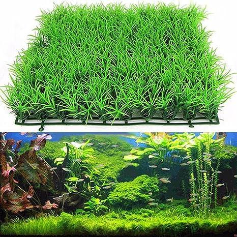 quanjucheer Figura decorativa para acuario, césped o jardín, plástico, color verde