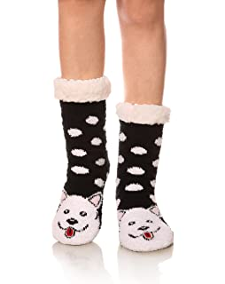 Womens Super Soft Cute Cartoon Animal fuzzy Cozy Non-Slip Winter Slipper Socks