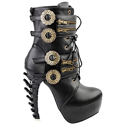 Punk Black Buckle Zip Lace Up Bone Heels Platform Ankle BootsLF80651