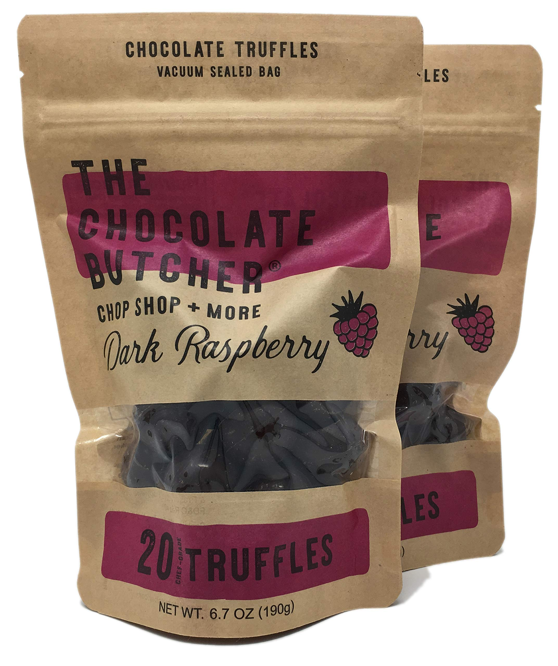 Chef-Grade Raspberry Dark Chocolate Truffles (Two Bags-40 Truffles) by The Chocolate Butcher