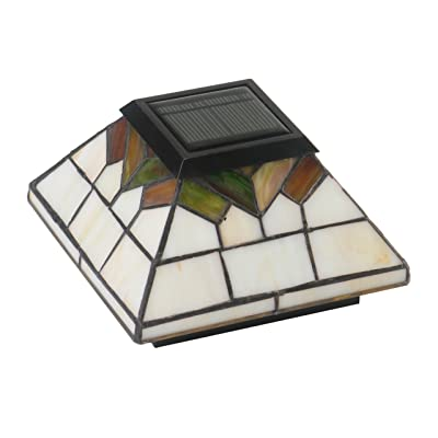 "Classy Caps WG322 5X5/4X4/3.5X3.5 Stained Glass Wellington Solar Post Cap, 5"" x 5"" - Outdoor Post Lights - .com"