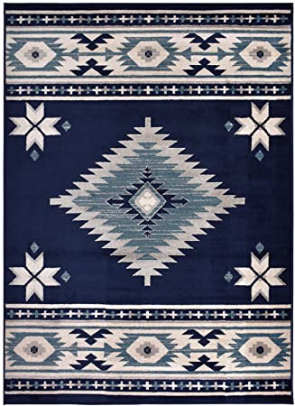 Rug Styles Southwestern Navy Blue Area Rugs 7 10 X 9 10 Furniture Decor